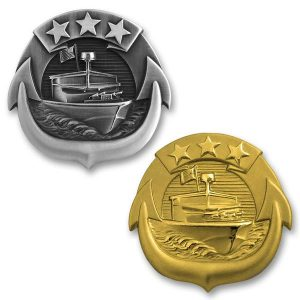 Modern small craft pins in the U.S. Navy draw on the heritage of Vietnam operations: a Patrol Boat Riverine is depicted centered under three stars representing operations GAME WARDEN, MARKET TIME, and SEALORDS. (USA Military Medals)