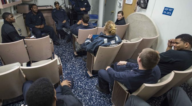 MEDITERRANEAN SEA (Oct. 28, 2015) Sailors conduct a junior enlisted association meeting aboard the Arleigh Burke-class guided-missile destroyer USS Farragut (DDG 99) October 28, 2015. Farragut, homeported in Mayport, Florida, is conducting naval operations in the U.S. 6th Fleet area of operations in support of U.S. national security interests in Europe.