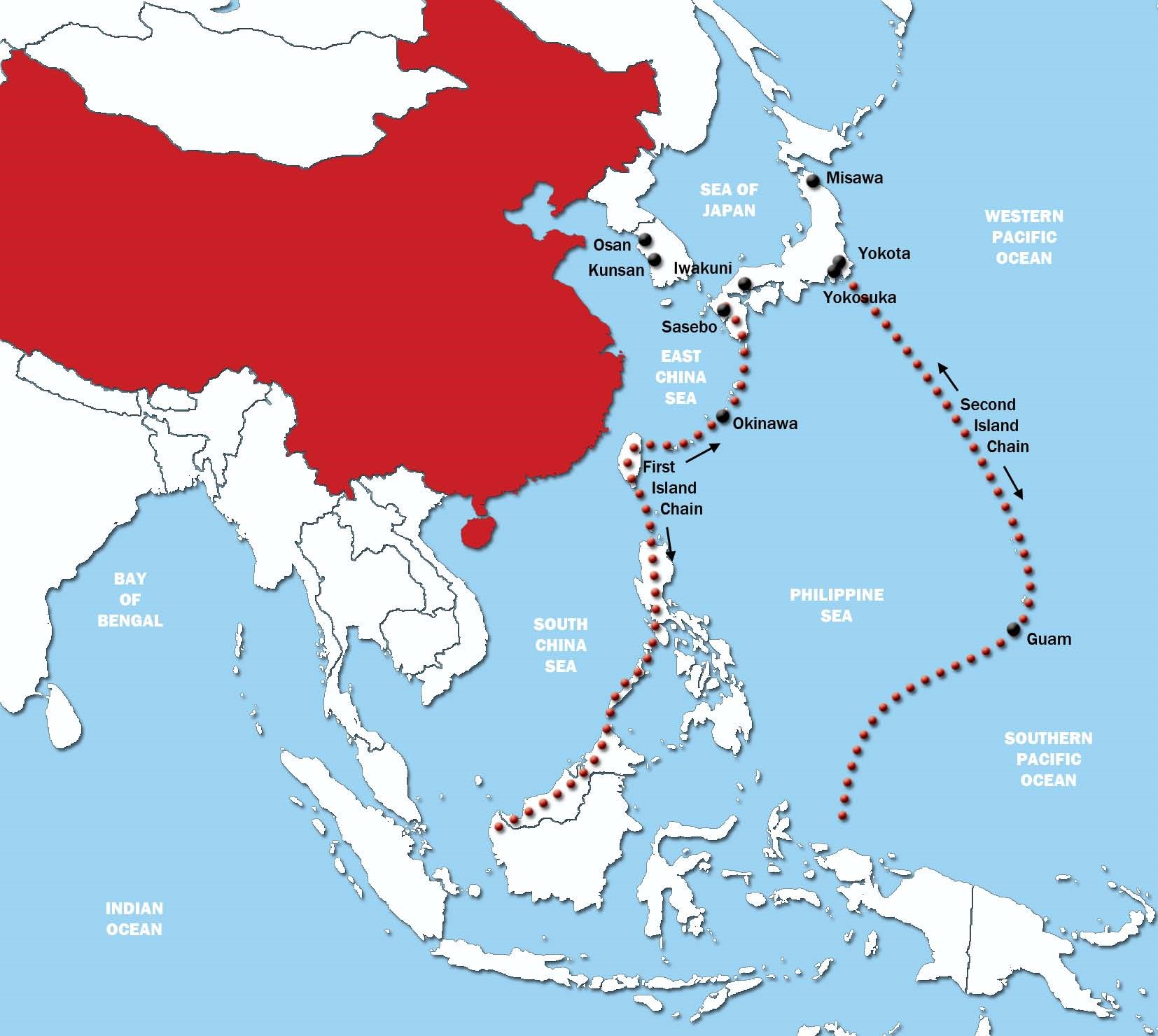 A map of the Asia-Pacific with the first and second island chains indicated. (Consortium of Defense Analysts)