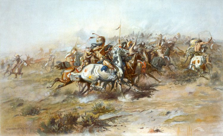"The Custer Fight"" by Charles Marion Russell. (Public Domain)"