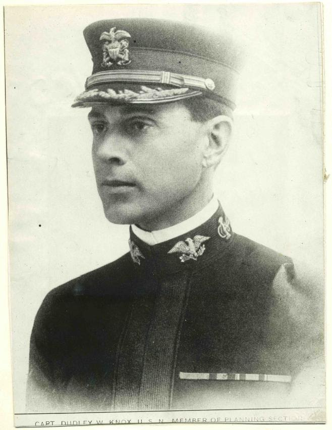 "Captain Dudley W. Knox as a member of the ""Planning Section"" of the ""London Flagship"" headquarters of the Commander, U.S. Naval Forces in Europe, Admiral William S. Sims. Having arrived in London for Christmas in 1917, Knox synthesized operations with intelligence by organizing future planning efforts within the headquarters. (U.S. Navy Photograph)"