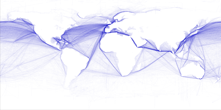 World shipping routes (T. Hengel/Wikimedia)